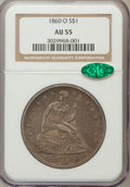 Seated Dollars: , 1860-O $1 AU55 NGC. CAC. NGC Census: (47/510). PCGS Population(73/750). Mintage: 515,000. Numismedia Wsl. Price for proble...