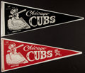 Baseball Collectibles:Others, Circa 1950's Chicago Cubs Pennants Lot of 2....