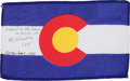 Explorers:Space Exploration, Apollo 15 Flown Colorado State Flag Directly from the PersonalCollection of Mission Command Module Pilot Al Worden, Signed an...