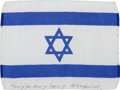 Transportation:Space Exploration, Apollo 15 Flown National Flag of Israel Directly from the PersonalCollection of Mission Command Module Pilot Al Worden, Signe...