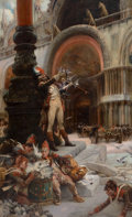 Fine Art - Painting, European, GEORGES JULES VICTOR CLARIN (French, 1843-1919). Napoleon'sTroops in Front of San Marco, Venice. Oil on canvas. 513 x 3...(Total: 1 Pieces)