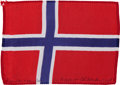 Transportation:Space Exploration, Apollo 15 Flown National Flag of Norway Directly from the Personal Collection of Mission Command Module Pilot Al Worden, Signe...
