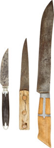 Western Expansion:Cowboy, Lot of Three Assorted Frontier Utility Knives... (Total: 3 )