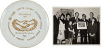 Ed White II: United Nations Plate and Photo with Note from His Father, from His Personal Collection