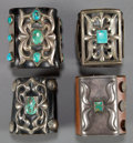 American Indian Art:Jewelry and Silverwork, FOUR NAVAJO SILVER AND TURQUOISE BOW GUARDS. c. 1940 - 1960...(Total: 4 Items)