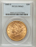 Liberty Double Eagles: , 1885-S $20 MS63 PCGS. PCGS Population (350/32). NGC Census:(114/11). Mintage: 683,500. Numismedia Wsl. Price for problem f...