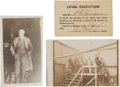 Photography:Cabinet Photos, Oklahoma Hanging! Two Rare Photos and an Invitation to Attend. ...(Total: 3 Items)