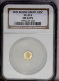 California Fractional Gold: , 1872 25C Liberty Round 25 Cents, BG-814, High R.5, MS64 NGC. Ahighly reflective example with attractive orange-gold surfac...