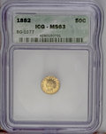 California Fractional Gold: , 1882 50C Indian Round 50 Cents, BG-1077, High R.6, MS63 ICG. Thissubdued green-gold piece shows some striking bluntness on...