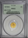 California Fractional Gold: , 1876/5 $1 Indian Octagonal 1 Dollar, BG-1129, R.4 MS62 PCGS. Abright apricot-gold octagonal dollar that has glimpses of bl...