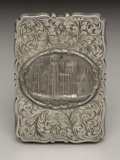 Silver Smalls:Other , A Victorian Silver Castle Top Calling Card Case. David Pettifer,Birmingham, England. 1849-50. Silver. Marks: (lion passa...