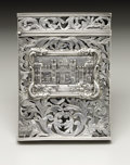 Silver Smalls:Other , A Victorian Silver Castle Top Calling Card Case. Unknown maker,Birmingham, England. Circa 1850. Silver. Marks: (lion pas...