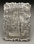 Silver Smalls:Other , A Victorian Silver Castle Top Calling Card Case . Unkown maker,Birmingham, England. 1870-71. Silver. Marks: (lion passan...