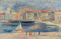 PIERRE-AUGUSTE RENOIR (French, 1841-1919) Le Port de Saint-Tropez Oil on canvas 6-3/4 x 10-1/2 in