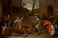 Fine Art - Painting, European:Antique  (Pre 1900), Follower of PIETER BRUEGHEL (Flemish, 1515-1569). The Fight Between Carnival and Lent, 17th century. Oil on canvas. 35 x...