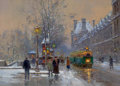 Fine Art - Painting, European, EDOUARD-LÉON CORTÈS (French, 1882-1969). Quai du Louvre, Sons laNeige. Oil on canvas. 13 x 18 inches (33.0 x 45.7 cm). ...