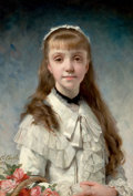 Fine Art - Painting, European:Antique  (Pre 1900), CHARLES CHAPLIN (French, 1825-1891). La fille du peintre (orSweet Innocence), 1881. Oil on canvas. 25-3/4 x 18...