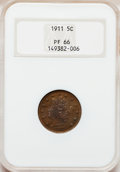 Proof Liberty Nickels: , 1911 5C PR66 NGC. NGC Census: (90/12). PCGS Population (44/7).Mintage: 1,733. Numismedia Wsl. Price for problem free NGC/P...