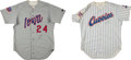 Baseball Collectibles:Uniforms, 1994 Iowa Cubs Game Worn Jerseys Lot of 2....