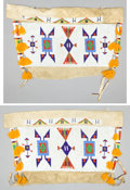 American Indian Art:Beadwork and Quillwork, A PAIR OF SIOUX BEADED HIDE TIPI BAGS. c. 1900... (Total: 1 Pair)