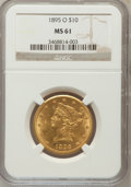 Liberty Eagles: , 1895-O $10 MS61 NGC. NGC Census: (184/100). PCGS Population(102/87). Mintage: 98,000. Numismedia Wsl. Price for problem fr...