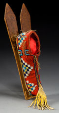 American Indian Art:Beadwork and Quillwork, A KIOWA BEADED CLOTH MODEL BABY CARRIER. c. 1890...