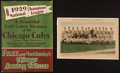 "Baseball Collectibles:Others, 1929 Chicago Cubs ""Chicago Tribune"" Team Photograph Premium andAdvertising Piece Lot of 2...."