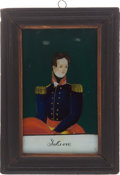 Political:3D & Other Display (pre-1896), Andrew Jackson: Reverse Painting on Glass....