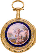 Timepieces:Pocket (pre 1900) , Chatenay Versailles Gold & Enamel Quarter Hour Dumb Repeater,circa 1820. ...
