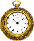 Timepieces:Pocket (pre 1900) , George Prior Gilt & Tortoise Triple Cased Verge, circa 1810....