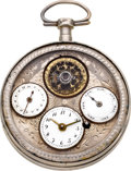 Timepieces:Pocket (pre 1900) , Swiss Multi-Dial Calendar Verge With Exposed Balance, circa 1820....