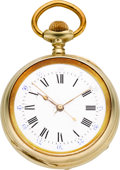 "Timepieces:Pocket (pre 1900) , Swiss ""Aubry Patent"" 40 Day Key Wind Center Seconds Watch, circa1870. ..."