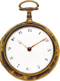 Timepieces:Pocket (pre 1900) , William Vevers Under Painted Horn Pair Cased Verge Fusee, circa1795. ...