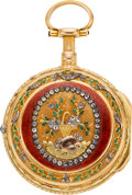 Timepieces:Pocket (pre 1900) , Isaac Soret & Fils Multicolor Gold & Enamel Quarter Repeating Verge Fusee, circa 1760. ...