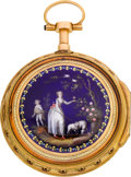 Timepieces:Pocket (pre 1900) , Vaucher Gold & Enamel Quarter Repeating Verge Fusee, circa1800. ...