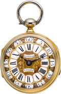 Timepieces:Pocket (pre 1900) , Romilly Paris Double Dial Verge Fusee, circa 1770. ...