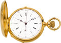 Timepieces:Pocket (pre 1900) , Ulysse Humbert Gold Two Train With Independent Seconds & 1/4Second Jump, circa 1870's. ...
