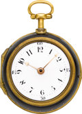Timepieces:Pocket (pre 1900) , Christopher Pinchbeck London Gilt & Tortoise Quarter Repeating Verge, circa 1740. ...