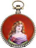 Timepieces:Pocket (pre 1900) , Swiss Enamel & Pearl Set Fancy Dial Pocket Watch For The Chinese Market, circa 1870. ...