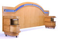 Furniture : American, AN AMERICAN OCEAN-LINER STYLE BLONDE BURL WALNUT AND COBALT BLUEMIRROR KING-SIZE BED . Maker unknown, American, circa 1935...