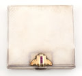 Silver Smalls:Other , A TIFFANY SILVER, SILVER GILT AND RUBY COMPACT WITH LEATHER CASE .Tiffany & Co., New York, New York, circa 1925. Marks: T...(Total: 2 Items)