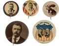 Political:Pinback Buttons (1896-present), Roosevelt & Fairbanks: Shield Jugate and Four Picture Pins.... (Total: 5 Items)