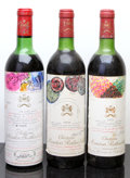 Red Bordeaux, Chateau Mouton Rothschild. Pauillac. 1970 hs, lbsl Bottle(1). 1978 bn, bsl Bottle (1). 1979 hs, lbsl Bottle... (Total: 3Btls. )