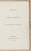 Books:Literature Pre-1900, Henry Wadsworth Longfellow. Voices of the Night. Cambridge:John Owen, 1839. First edition. Longfellow's first b...