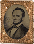 Political:Ferrotypes / Photo Badges (pre-1896), Abraham Lincoln: Unusual 1864 Ferrotype....
