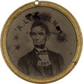 Political:Ferrotypes / Photo Badges (pre-1896), Abraham Lincoln: Super Rare Back-to-Back Ferrotype Badge....