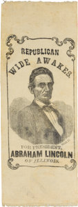Political:Ribbons & Badges, Abraham Lincoln: Wide Awake Ribbon....