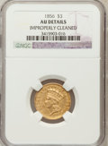 Three Dollar Gold Pieces, 1856 $3 -- Improperly Cleaned -- NGC Details. AU. NGC Census: (38/599). PCGS Population (69/374). Mintage: 26,010. Numi...