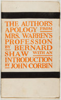 Books:Americana & American History, Bernard Shaw. The Author's Apology from Mrs. Warren'sProfession. New York: Brentano's, 1905. First edition. Si...