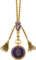 Timepieces:Pocket (pre 1900) , Henry Capt Geneva Enamel, Gold & Diamond Pendant Watch WithChain, circa 1900. ...